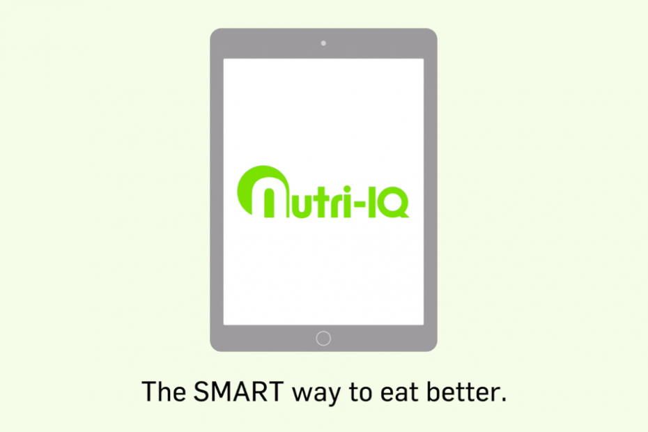 "Simple graphic showing the Nutri-iQ app on a tablet with the text ""The SMART way to eat better."" underneath."