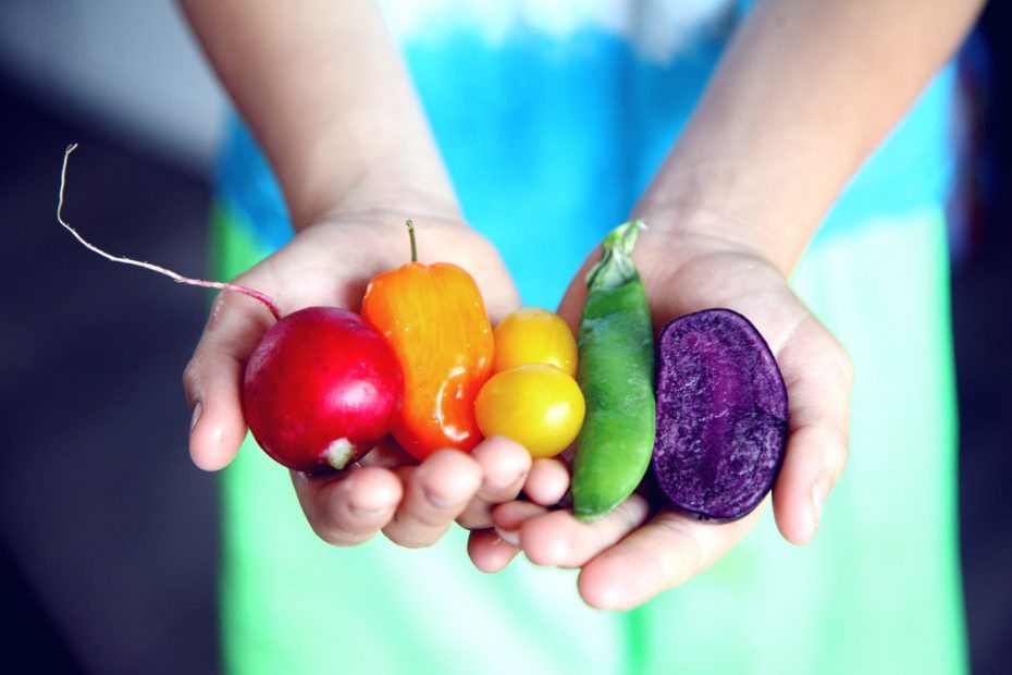 Woman holding various vibrant colours of vegetables