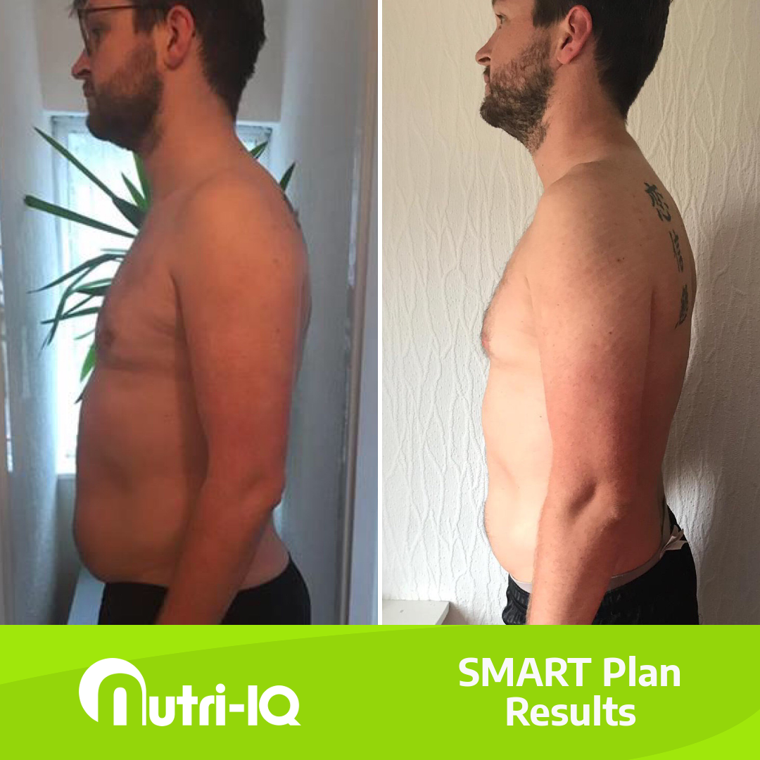 A before and after picture of our client Tom having lost a lot of weight around his stomach.