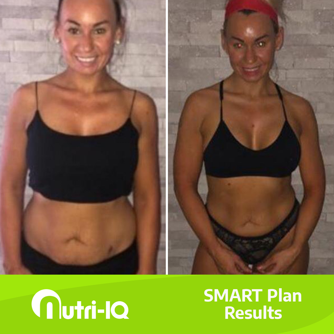 A before and after picture of our client Leelee having lost a lot of weight around her stomach post-pregnancy.