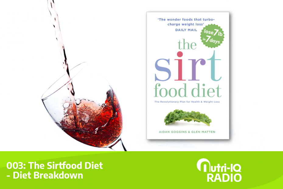 A glass of red wine next to the Sirtfood diet book.