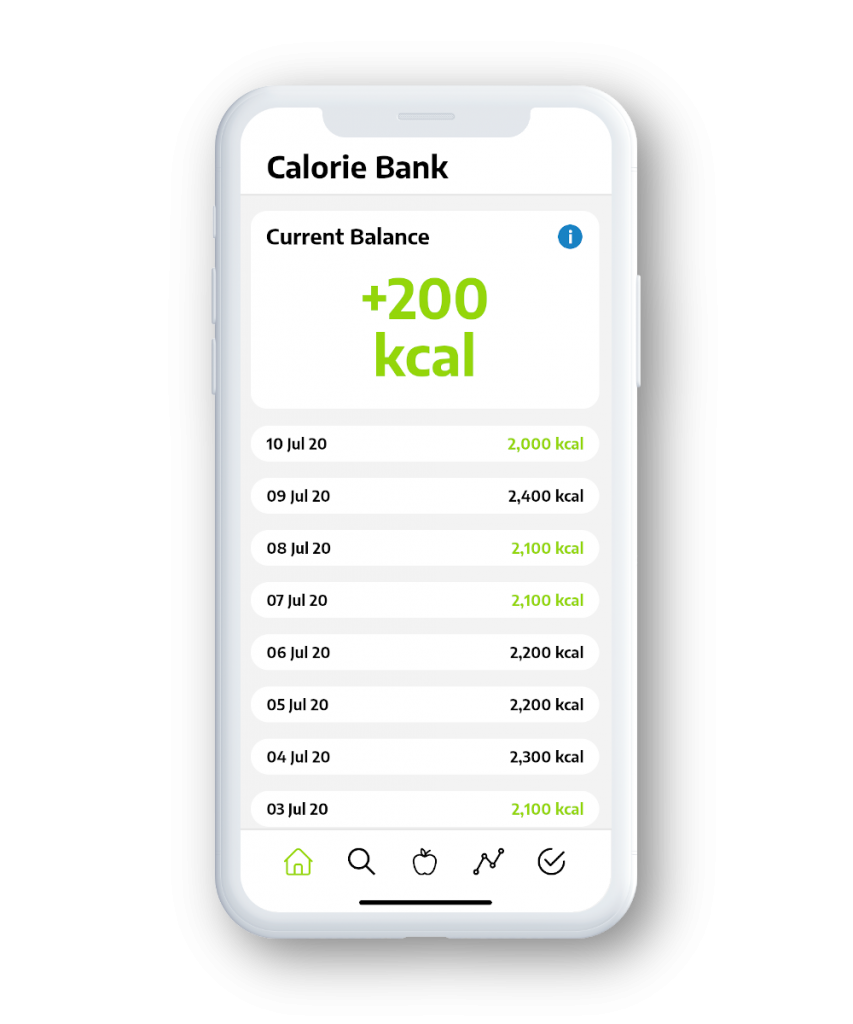 iPhone showing the Nutri-iQ Calorie Bank feature.