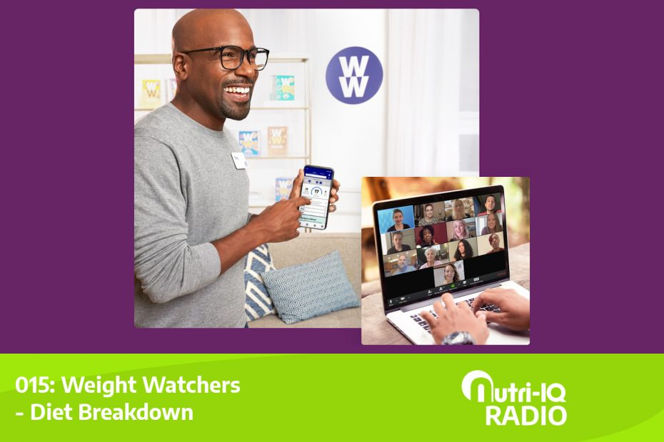 A man using the Weight Watchers app and a woman on a zoom call with other Weight Watchers members.